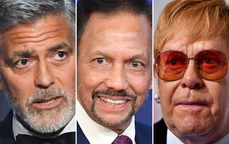 George Clooney (links) en Elton John (rechts) boycotten hotels die eigendom zijn van de sultan van Brunei (midden).