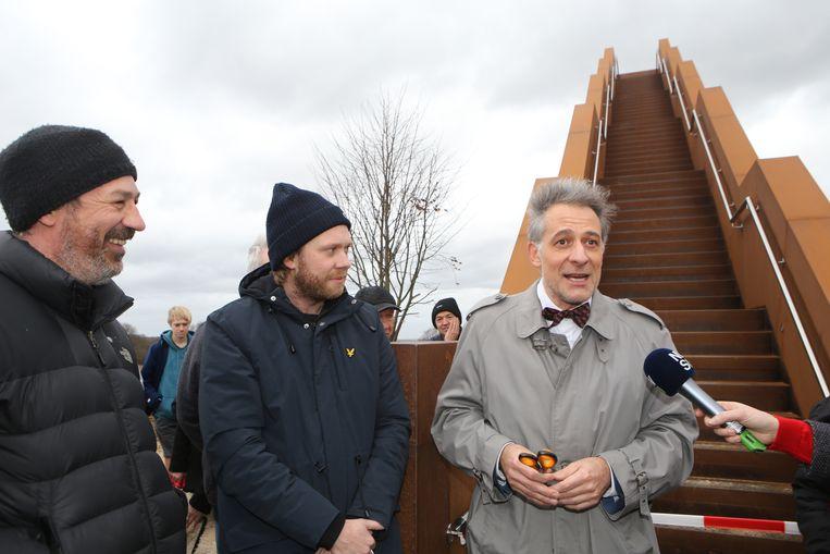 Regisseru Jan Eelen en acteur Rik Verheye waren erbij toen de toren heropend werd.