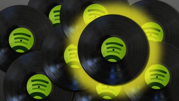 Het Spotify-logo op een vinylplaat. Beeld DPN Digital