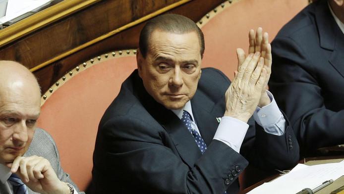 De voormalige Italiaanse premier Berlusconi op 30 april in de Italiaanse Senaat.