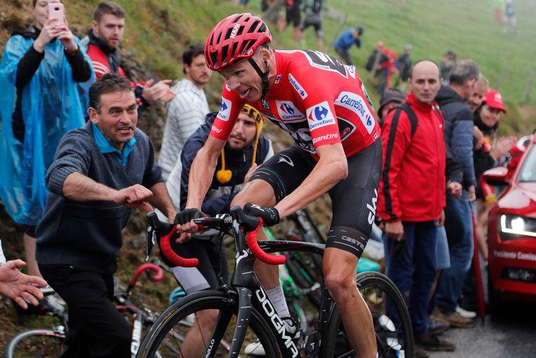 Chris Froome tijdens de vorige editie van de Vuelta.