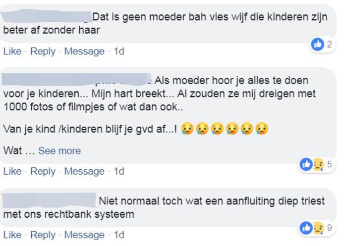 Reacties op het nieuws over de uitspraak tegen de Arnhemse moeder op de Facebookpagina van de Gelderlander.
