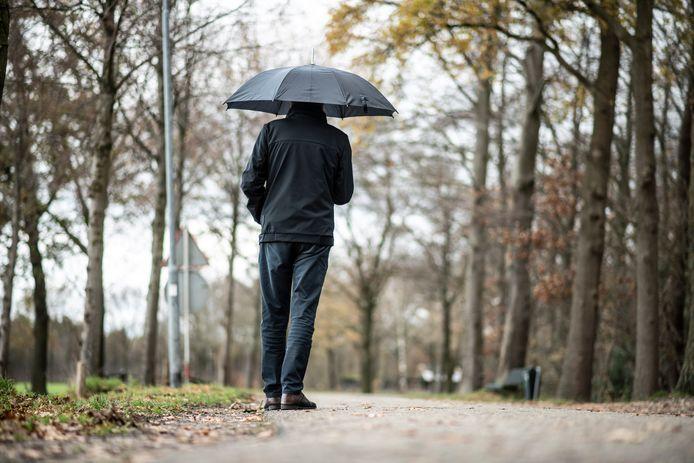 Hij werd tijdens het wandelen aangereden door een auto op de Van Balverenlaan in het buitengebied van Leur.