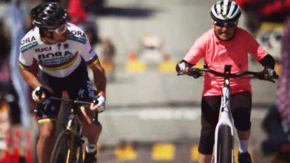 "Sagan verliest ""grootste race van het jaar"" tegen oud vrouwtje met twee knieprotheses en pacemaker in ludiek filmpje"