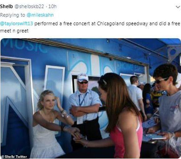 Taylor Swift tijdens een gratis concert met meet and greet in Chicago.
