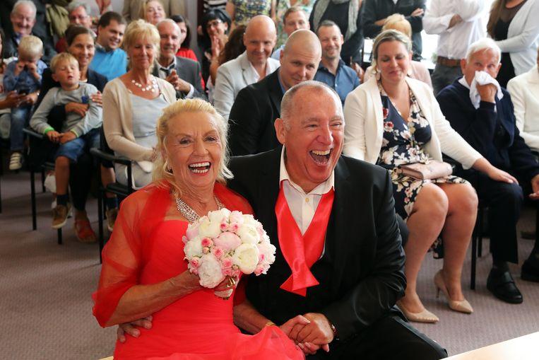 Jos en Rosa op hun huwelijk.