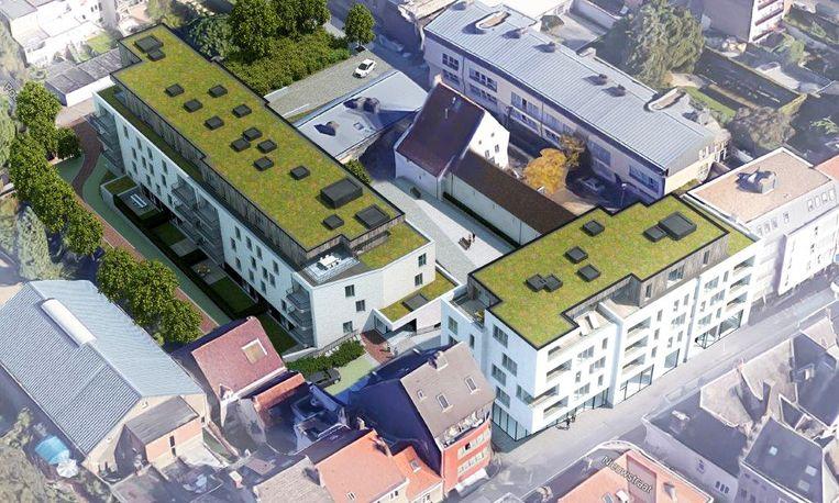 Een toekomstbeeld van Project Casalta. Middenin staat het historische gebouw Hof van Melijn, dat werd opgenomen in de nieuwbouw.