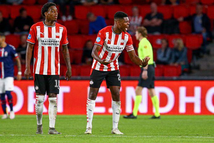 19-09-2020: Voetbal: PSV v FC Emmen: Eindhoven First Division  (L-R): Pablo Rosario of PSV Eindhoven , Denzel Dumfries of PSV Eindhoven shouting / disappointed after counter-goal