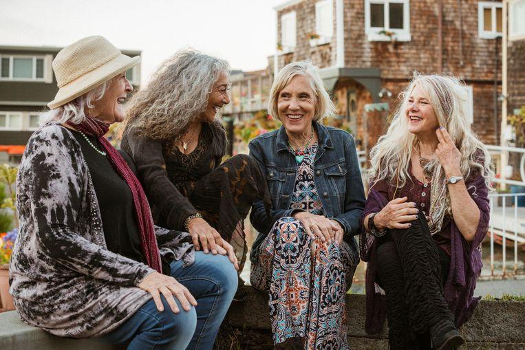 Ace of Cups in 2018, met vier van de vijf originele bandleden. Van links af:  Mary Gannon (bas), Denise Kaufman (gitaar), Mary Simpson (gitaar), Diane Vitalich (drums).  Beeld Rachael Wright