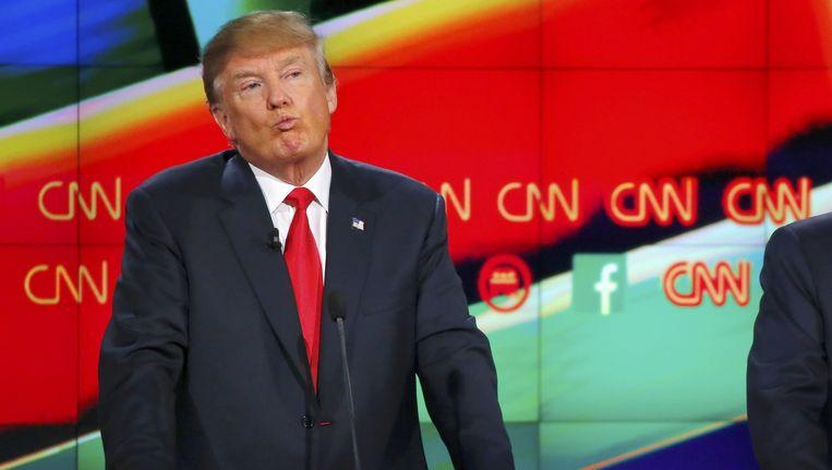 Presidentskandidaat Donald Trump tijdens het Republikeinse debat in Las Vegas Beeld reuters