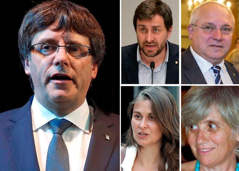 Carles Puigdemont en de 4 ex-ministers die in België verblijven: (top L-R) Antoni Comin, Lluis Puig, Meritxell Serret en Clara Ponsati.