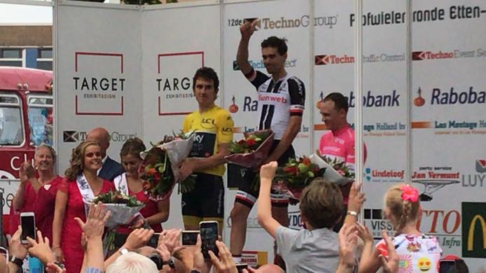 Tom Dumoulin was de winnaar van de Profronde Etten-Leur. Tourwinnaar Geraint Thomas werd tweede.