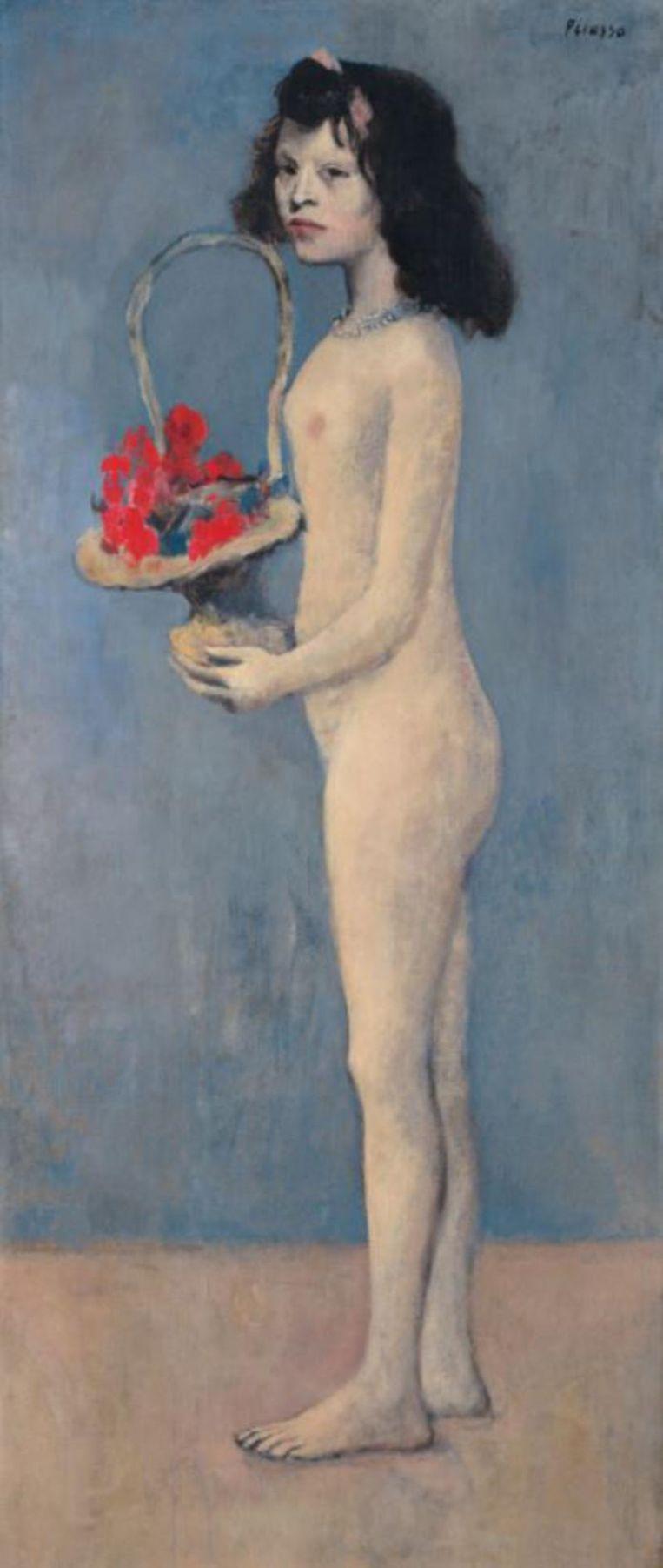 Pablo Picassos schilderij Fillette à la corbeille fleurie (Meisje met een mandje bloemen). Beeld