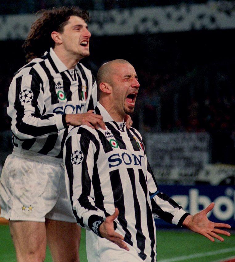 April 1996: Vialli heeft voor Juventus gescoord in de halve finale van de Champions League tegen Nantes.