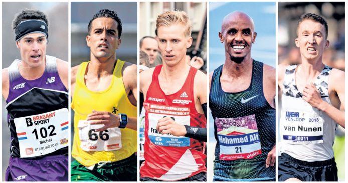 Vijf Nederlandse marathonlopers met een gedeelde olymische droom, van links naar rechts: Michel Butter, Khalid Choukoud, Frank Futselaar, Mohamed Ali en Bart van Nunen