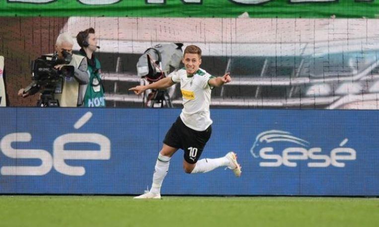Vreugde na de 1-2 bij Wolfsburg zaterdag.