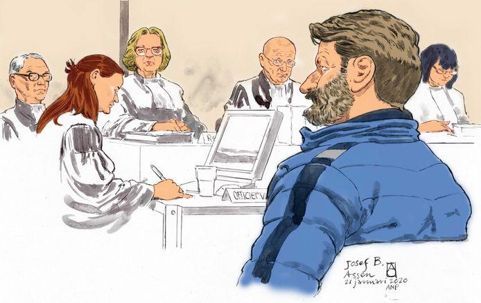 Rechtbanktekening van de Oostenrijkse huurder en klusjesman Josef B. en diens advocaat Yehudi Moszkowicz tijdens de eerste pro-formazitting in de strafzaak Ruinerwold