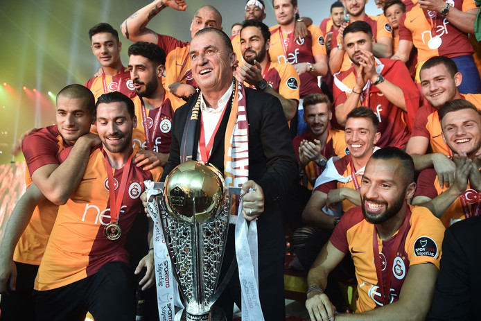 De spelers van de Turkse kampioen Galatasaray.