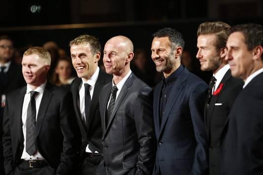 De legendarische 'class of '92', met vlnr: Paul Scholes, Phil Neville, Nicky Butt, Ryan Giggs, David Beckham en Gary Neville.