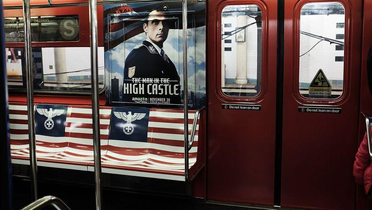 Reclame voor The Man in The High Castle in de New Yorkse metro Beeld AFP