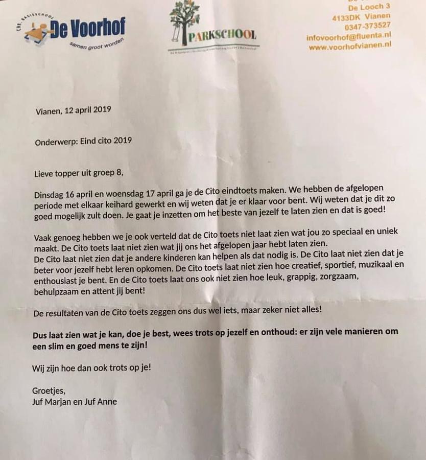 De brief die juffen uit Vianen schreven voor de leerlingen uit groep 8 over de Cito toets.