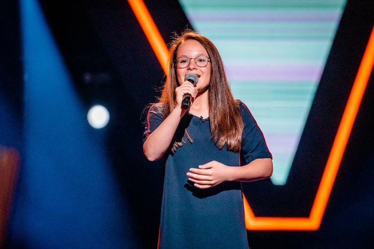 Emma Franssens tijdens haar auditie.