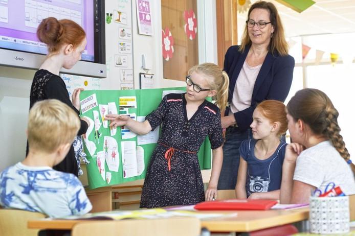 Juf Hetty met kinderen in de plusklas. Mirthe bespreekt werk over vluchtelingen.
