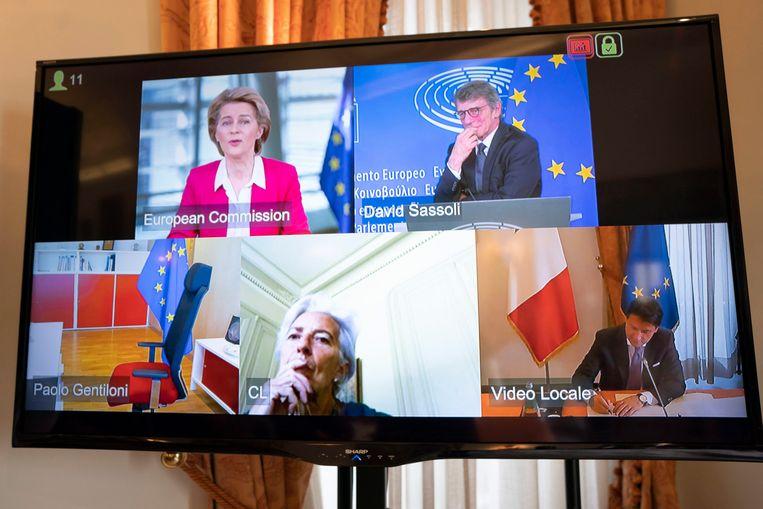 Michel en de 27 staatshoofden en regeringsleiders wisselden vandaag via videoconferentie van gedachten over het relancefonds.