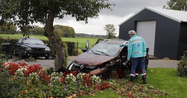 Twee auto's belanden bij ongeluk in voortuin; appelboom verliest fruit.
