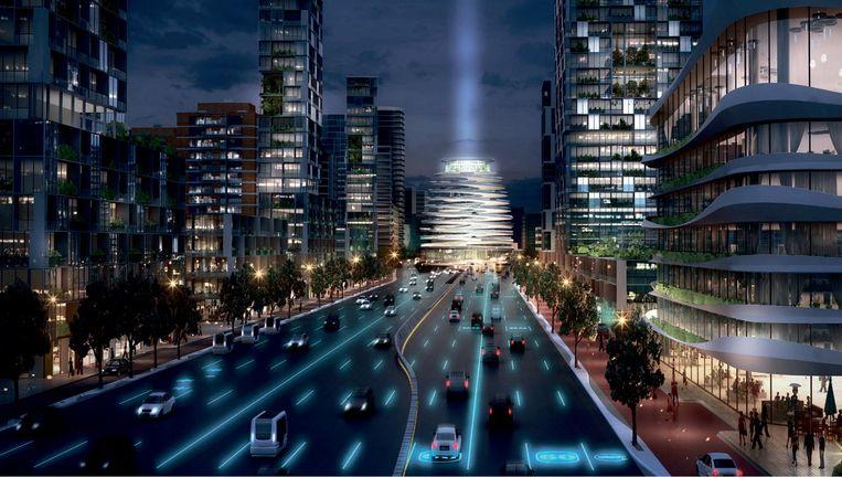 Het toekomstbeeld van de ringweg A10 rond Amsterdam in 2030 in het boek Snelweg x stad Beeld null