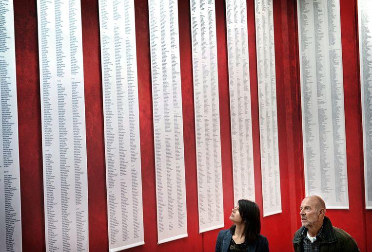 Zoon Jan de Visser met zijn dochter bij de namenlijst van slachtoffers in het kamp Neuengamme. Beeld Marcel van den Bergh