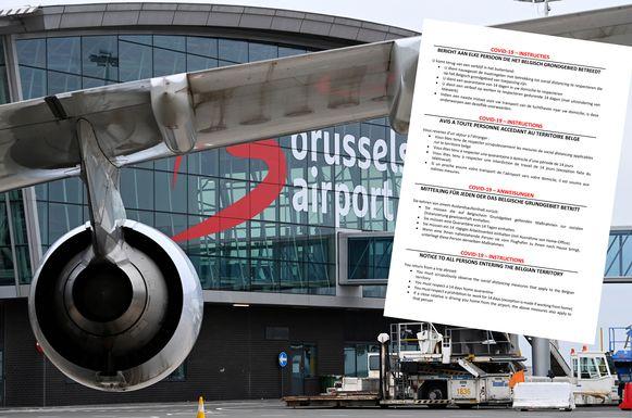 Alle reizigers die met het vliegtuig aankomen op Brussels Airport, krijgen de instructie om zichzelf gedurende twee weken in thuisquarantaine te plaatsen. Dat staat op een informatieblad over het coronavirus dat alle aankomende reizigers krijgen.