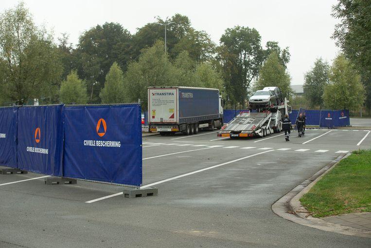 De snelwegparking langs de E40 in Wetteren.