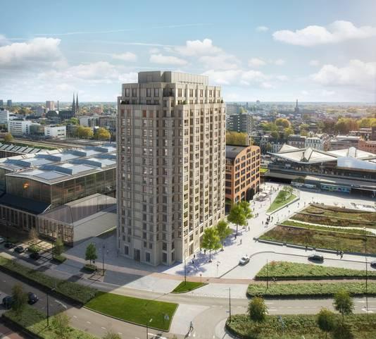 De twee nieuwe gebouwen aan het Burgemeester Stekelenburgplein. Op rechts: Plan-t, op de begane grond komt Monchou te zitten