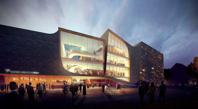 Het bij nader inzien te dure ontwerp voor een nieuwe theater in Den Bosch.
