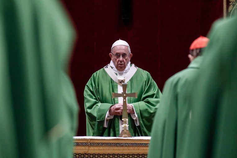 Paus Franciscus tijdens de mis in het Vaticaan, zondag 24 februari 2019.