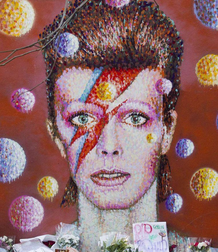 Een muurschildering van Bowie in Brixton, Londen, waar de zanger is geboren. Beeld afp
