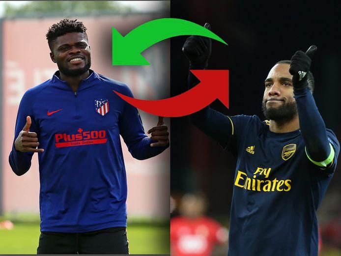 Arsenal zou interesse hebben in Thomas Partey (l) en Atlético juist weer in Alexandre Lacazette