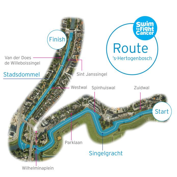 Parcours van Swim to Fight Cancer in Den Bosch.