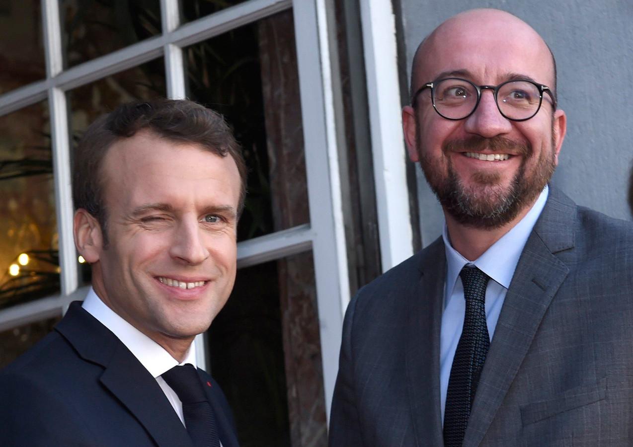 Le président français Emmanuel Macron et Charles Michel, Premier ministre belge.