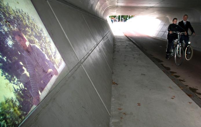Toenmalig wethouder Jan van Loon en Driek Reuver openden de Tunnel van de Toekomst in 2013.