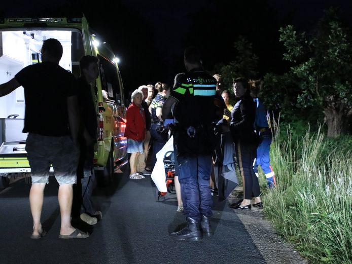 Hulpdiensten in Ederveen na het ongeluk.