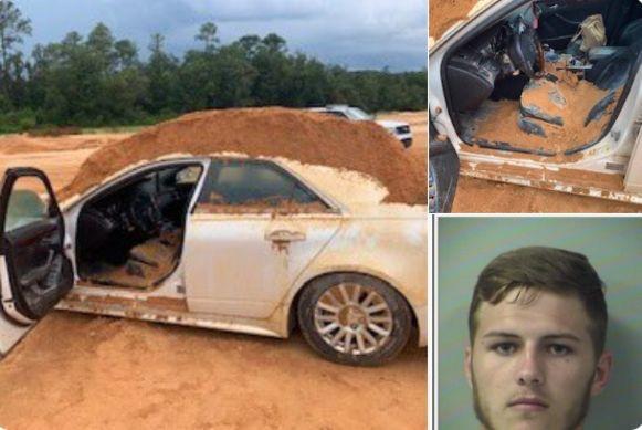 Hunter Mills (20) en de schade die hij toebracht aan de wagen.