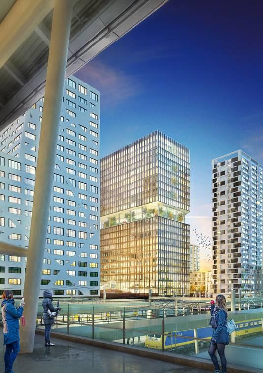 Zicht vanuit de OV-terminal op hoogbouw in Utrecht.