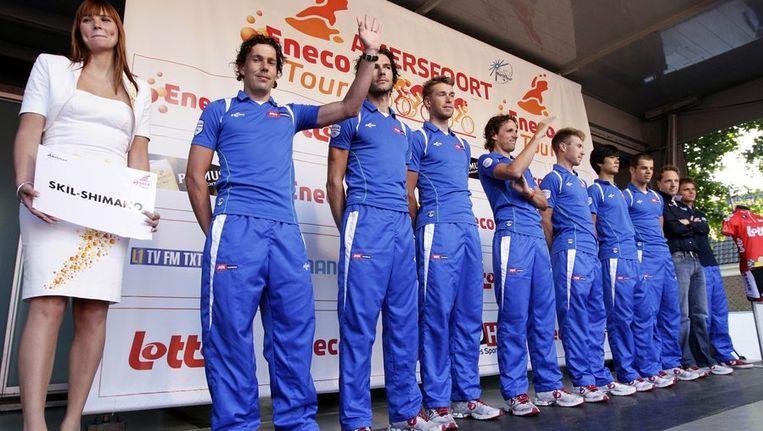 Skil-Shimano bij de presentatie van de Eneco Tour, gisteren in Amersfoort. Beeld anp