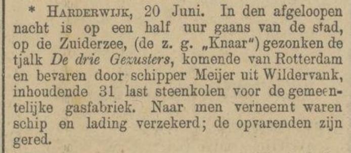 Een nieuwsbericht van 20 juni 1893 in de Provinciale Overijsselsche en Zwolsche Courant, waarin wordt vermeld dat De Drie Gezusters zonk voor de kust van Harderwijk.