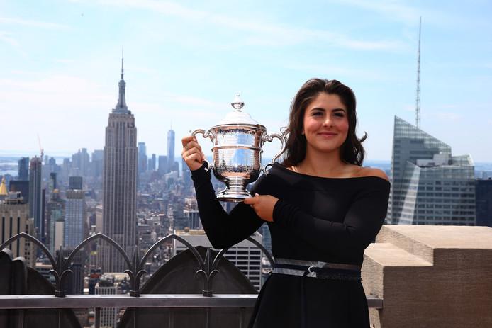 Bianca Andreescu bij haar fotoshoot op het Rockefeller Center in New York vandaag.