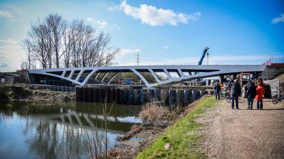 """Nieuwe gigantische brug over Oude Dender millimeter voor millimeter op zijn plaats gelegd: """"Wie goed kijkt ziet er Ros Beiaard en Vier Heemskinderen in"""""""