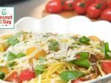 Spaghetti met kastanjechampignons, tomaat & Parmezaanse kaas
