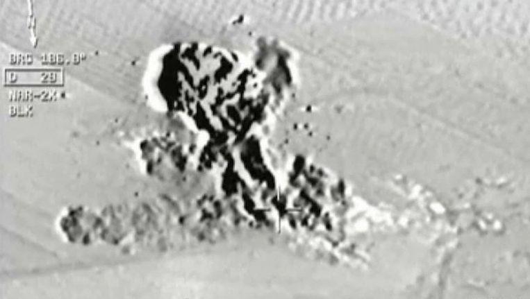 Beeld van een camera in de cockpit van een Turks gevechtsvliegtuig dat volgens het Turkse staatspersbureau Anadolu een Turkse luchtaanval op Syrisch grondgebied toont. Het toestel zou in Diyarbakir zijn opgestegen met twee andere F16's. Beeld ap